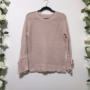 LOFT Pink Sheer Knit Sweater with Flared Cuffs S